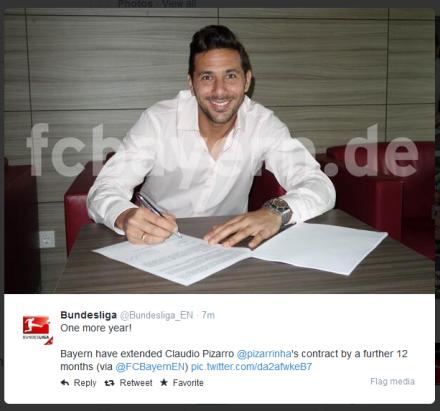 Claudio Pizarro verlengt bij Bayern München
